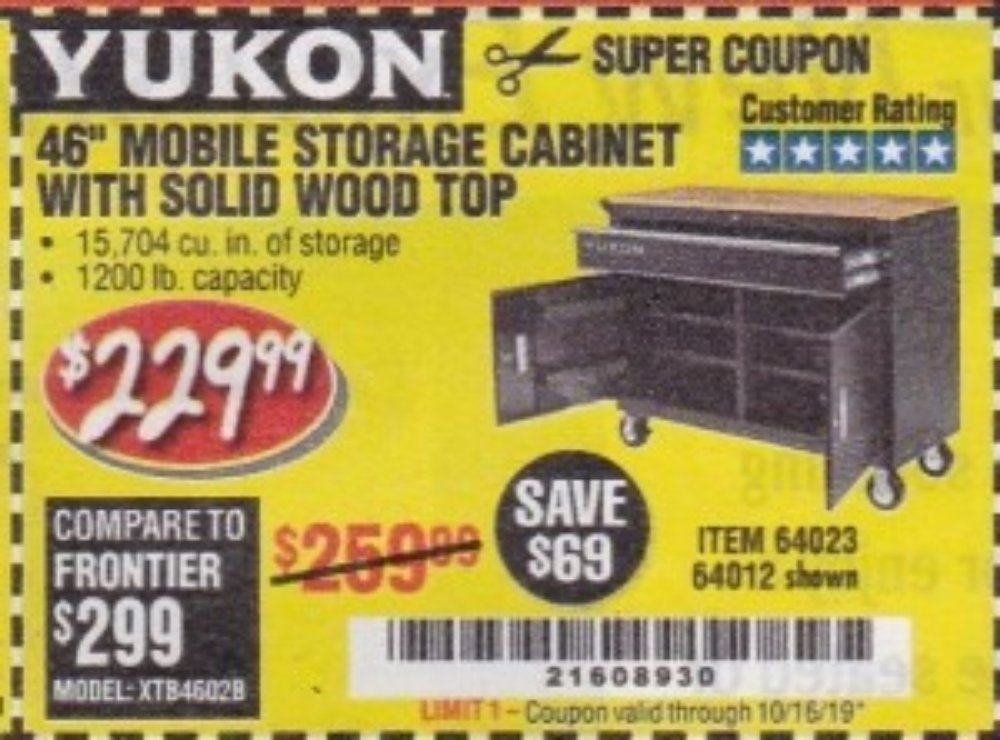 """Harbor Freight Coupon, HF Coupons - 46"""" Mobile Storage Cabinet With Solid Wood Top"""