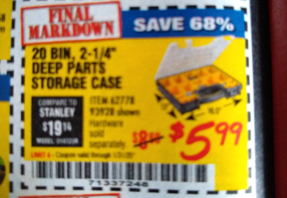 Harbor Freight Coupon, HF Coupons - 20 Bin Portable Parts Storage Case