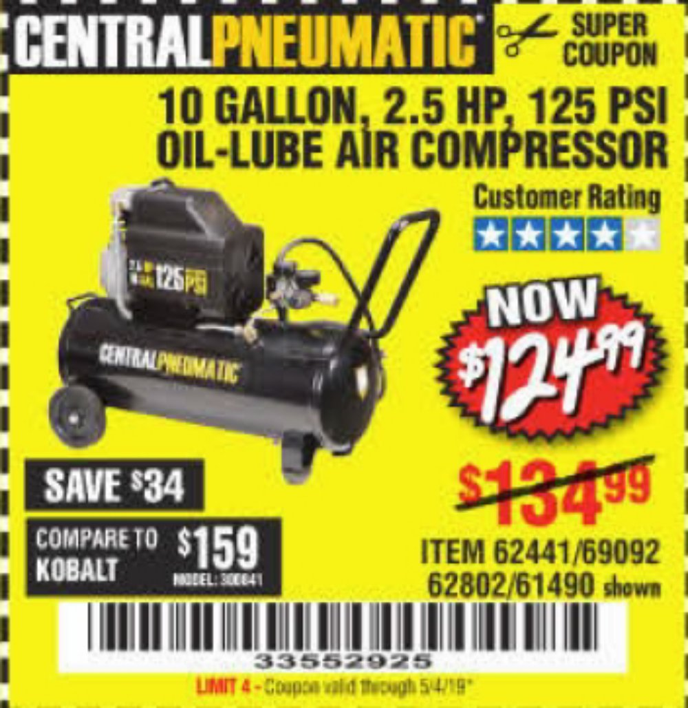 Harbor Freight Coupon, HF Coupons - 2.5 Hp, 10 Gallon, 125 Psi Oil Lube Air Compressor