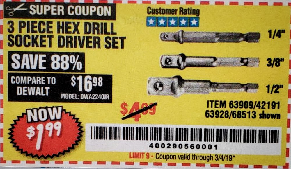 Harbor Freight Coupon, HF Coupons - 3 Piece Hex Drill Socket Driver Set