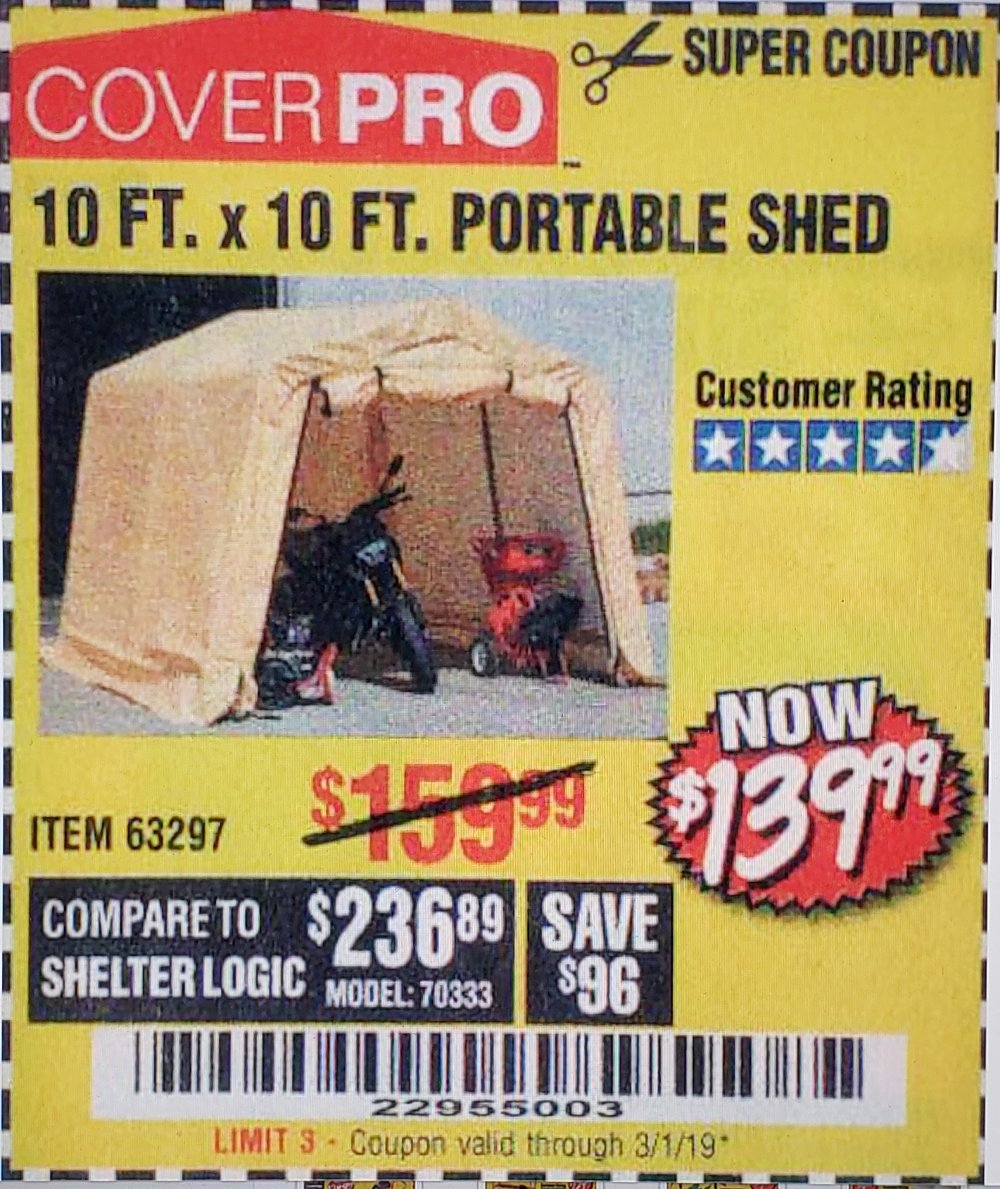 Harbor Freight Coupon, HF Coupons - 10 Ft. X 10 Ft. Portable Shed