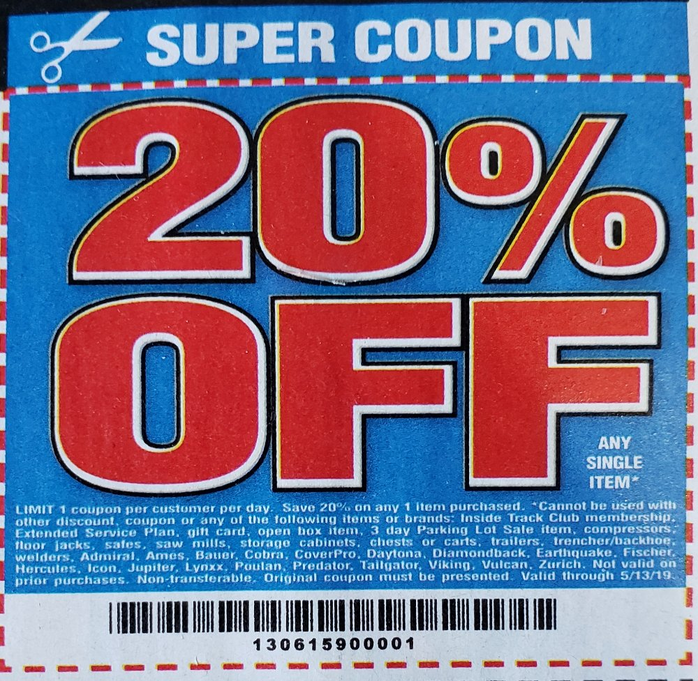 Harbor Freight Coupon, HF Coupons - 20% off coupon