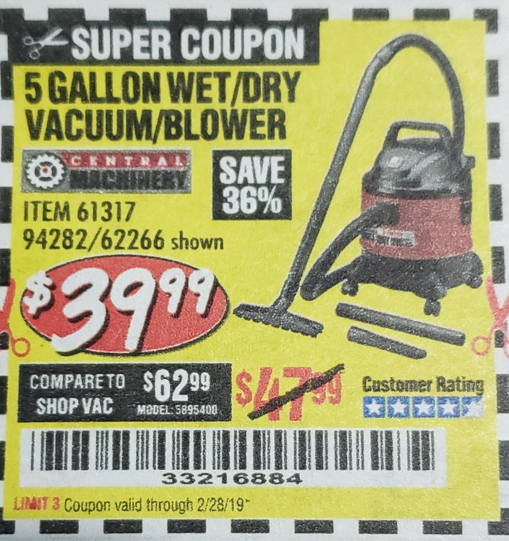 Harbor Freight Coupon, HF Coupons - 5 Gallon Wet/dry Shop Vacuum And Blower