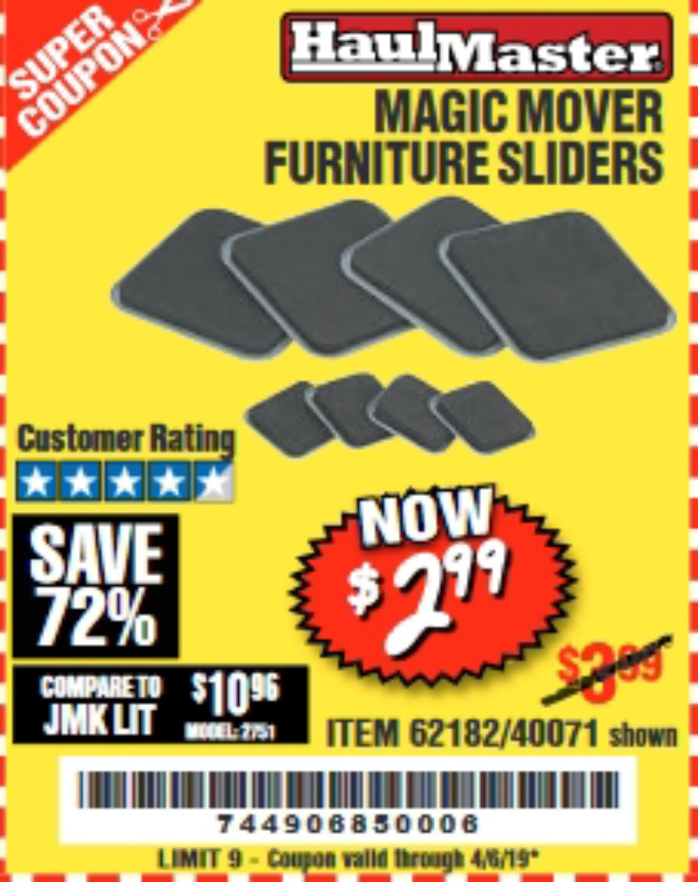 Harbor Freight Coupon, HF Coupons - Magic Mover Furniture Sliders