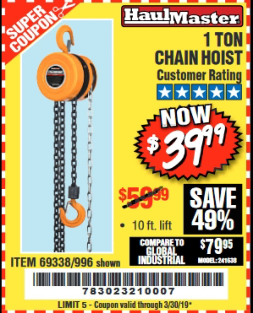 Harbor Freight Coupon, HF Coupons - 1 Ton Chain Hoist