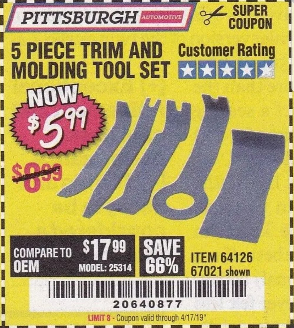 Harbor Freight Coupon, HF Coupons - 5 Piece Trim And Molding Tool Set