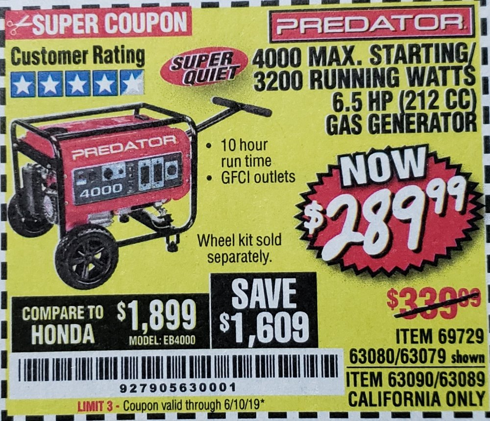 Harbor Freight Coupon, HF Coupons - 4000 Max. Starting/3200 Running Watts 6.5hp (212 Cc) Gas Generator