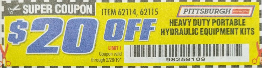 Harbor Freight Coupon, HF Coupons - PITTSBURGH, HYDRAULIC EQUIPMENT,62114,62115