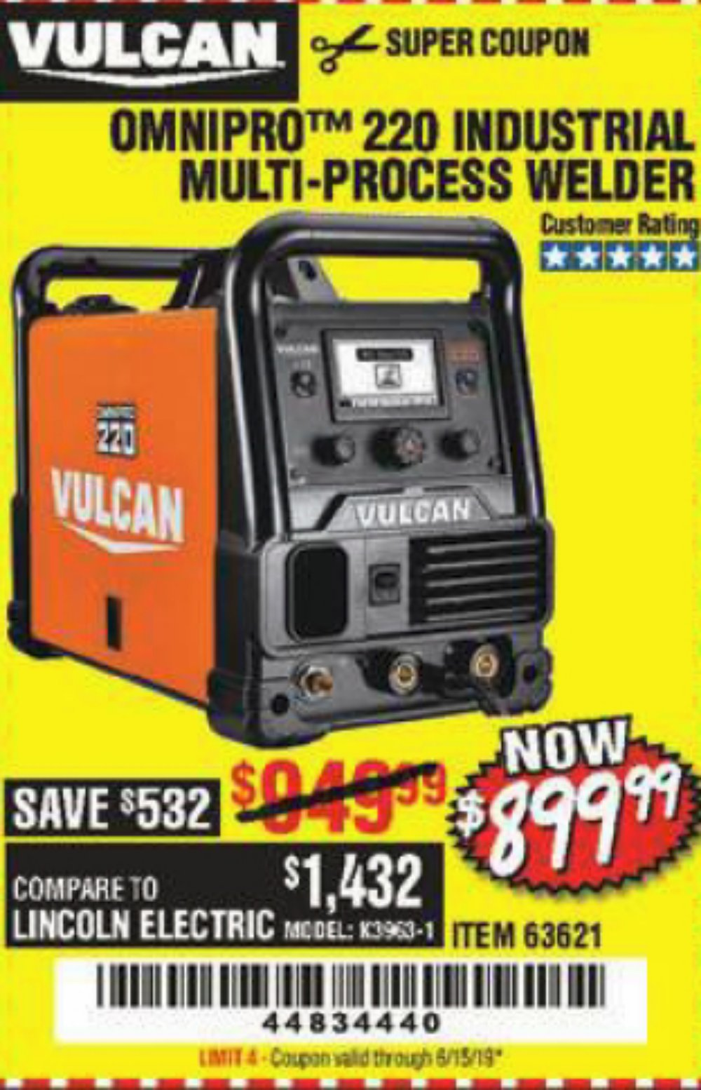 Harbor Freight Coupon, HF Coupons - Vulcan Omnipro 220 Multiprocess Welder With 120/240 Volt Input