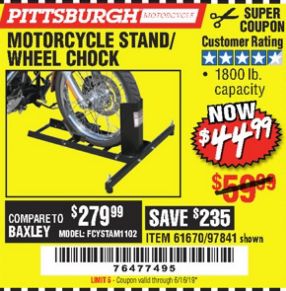 Harbor Freight Coupon, HF Coupons - Motorcycle Stand/wheel Chock