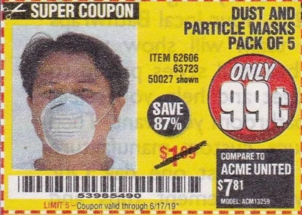 Harbor Freight Coupon, HF Coupons - Dust And Particle Mask 5 Pack