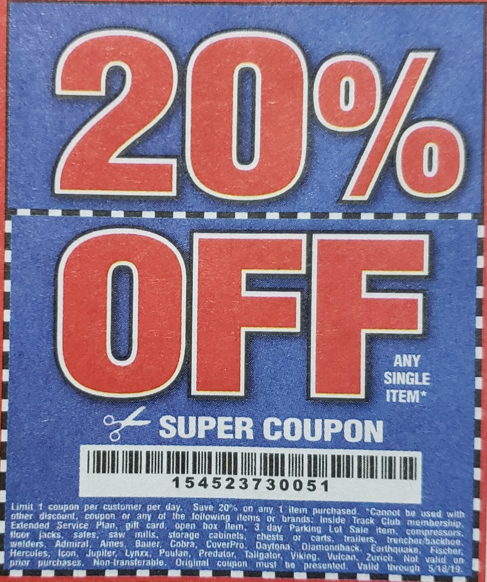 Harbor Freight Coupon, HF Coupons - 20% off, 5/18/2019