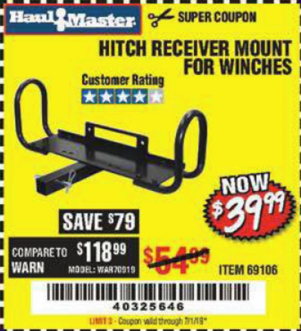 Harbor Freight Coupon, HF Coupons - Hitch Receiver Mount For Winches