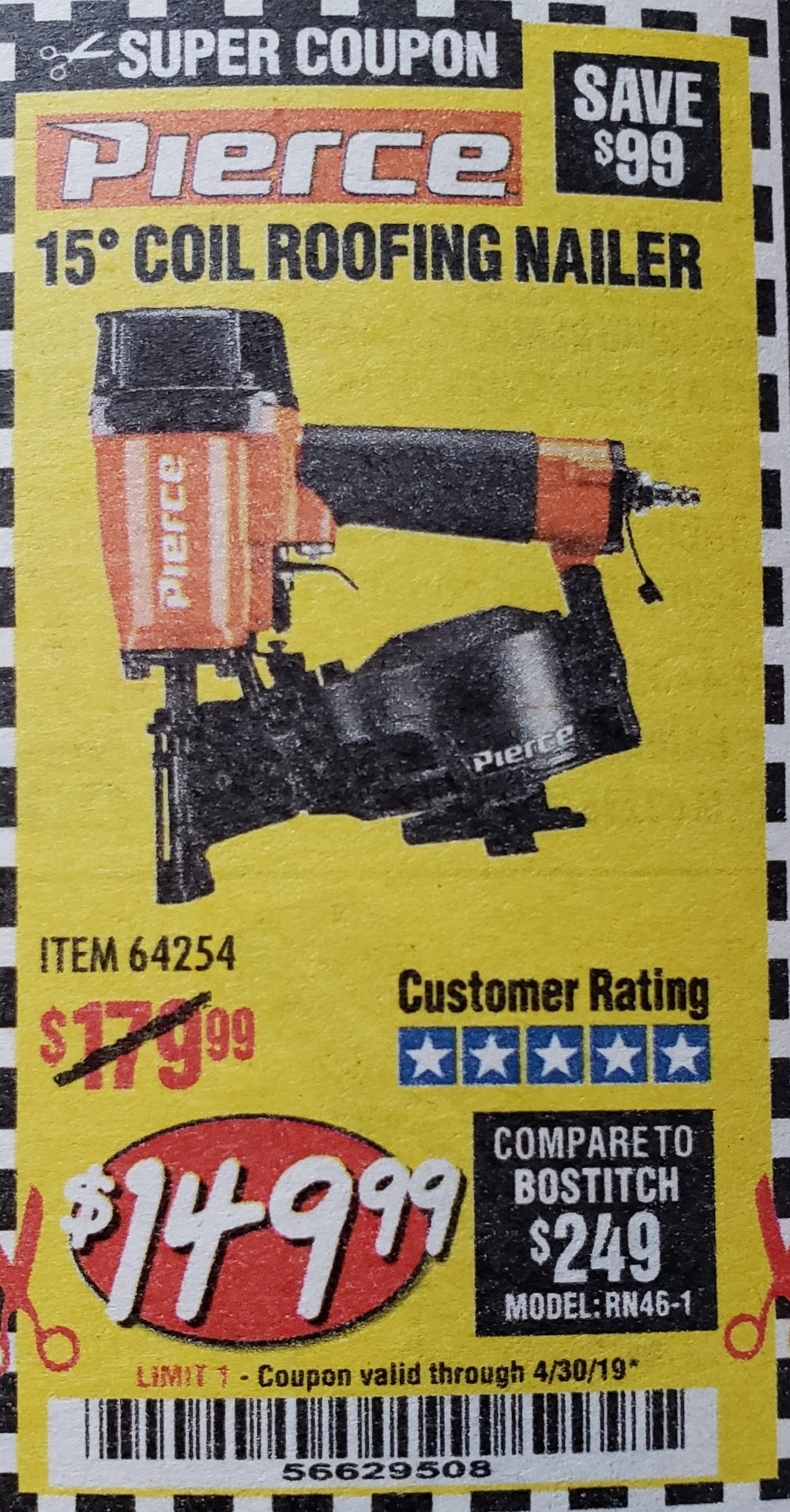 Harbor Freight Coupon, HF Coupons - Pierce Professional Roofing Nailer