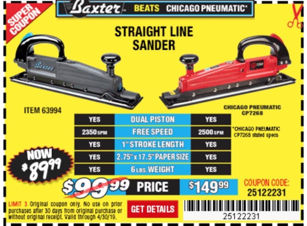Harbor Freight Coupon, HF Coupons - Baxter Straight Line Air Sander
