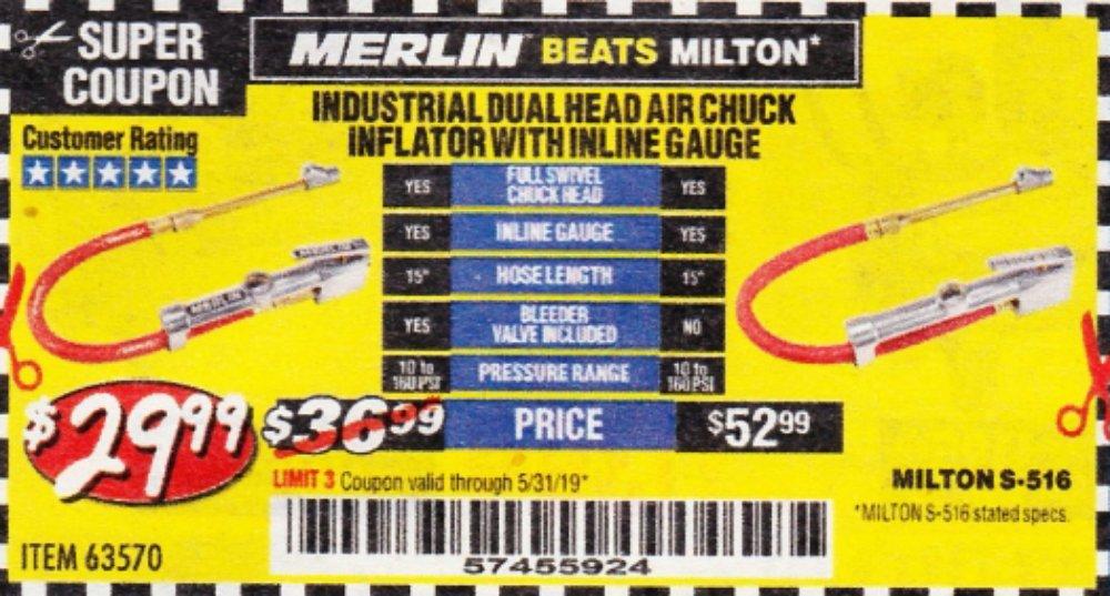 Harbor Freight Coupon, HF Coupons - Dual Head Air Chuck Inflator With Inline Gauge