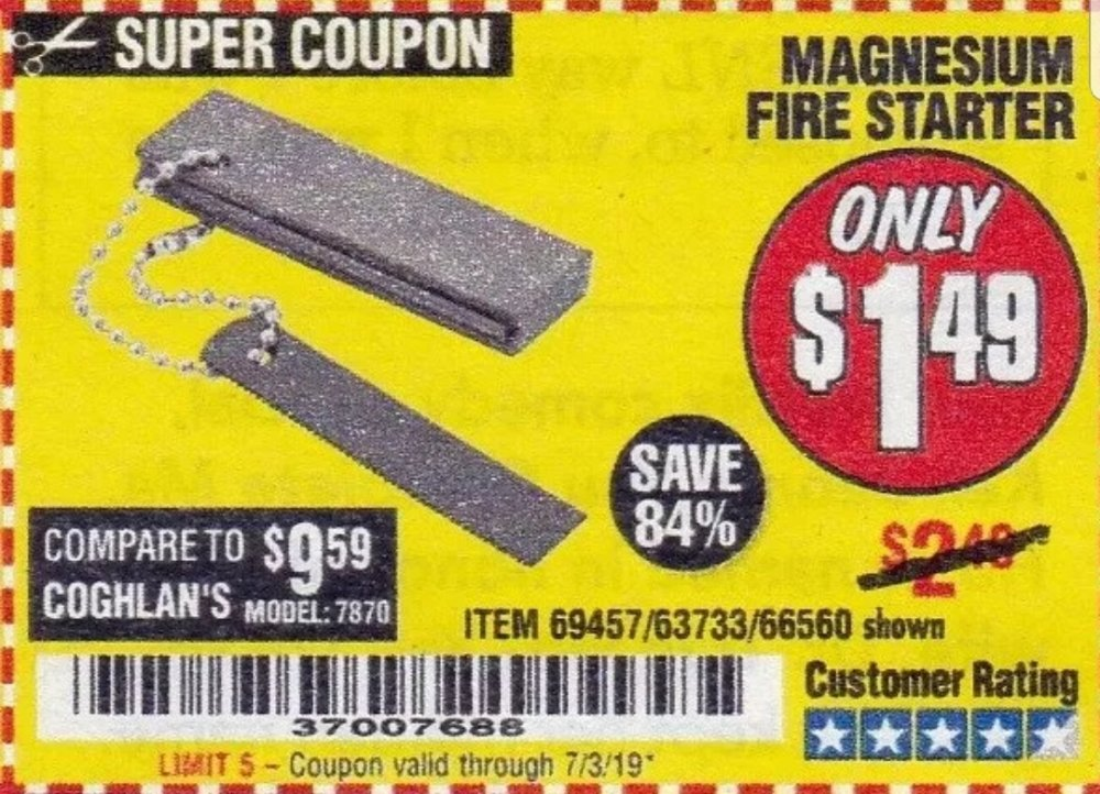 Harbor Freight Coupon, HF Coupons - Magnesium Fire Starter