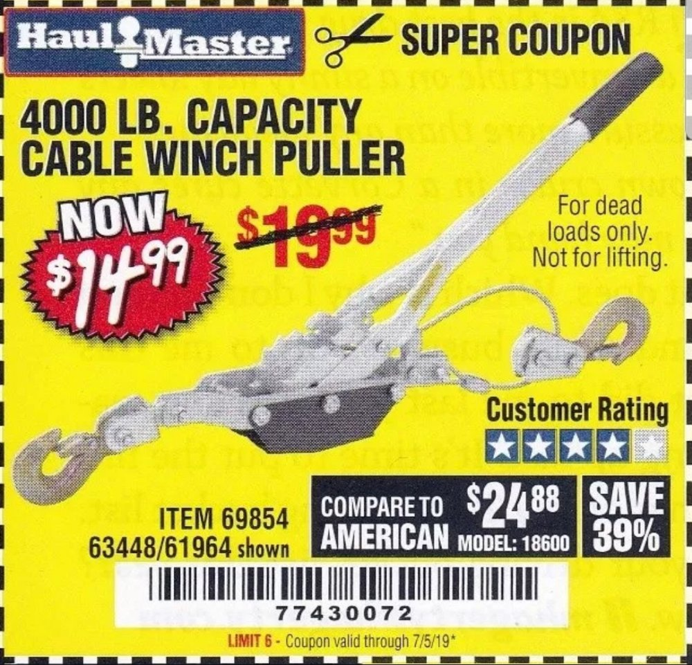Harbor Freight Coupon, HF Coupons - 4000 Lb. Capacity Cable Winch Puller