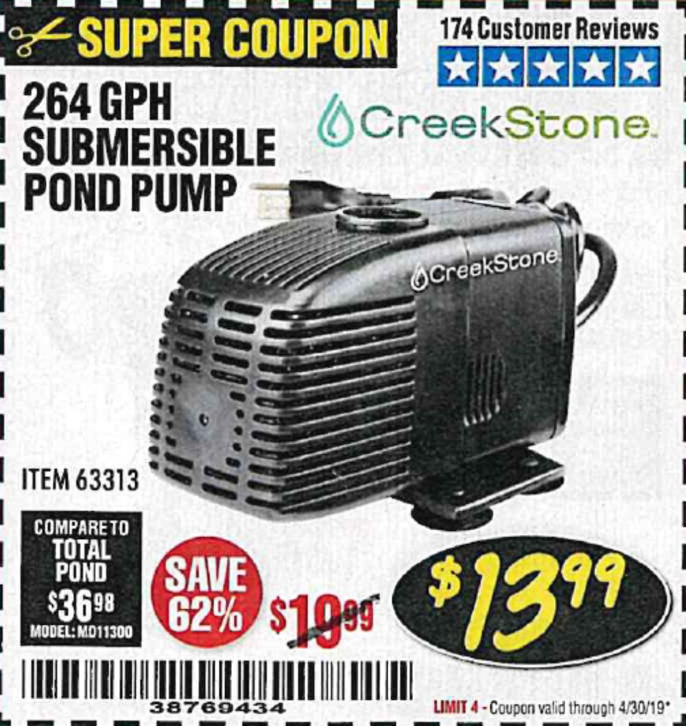 Harbor Freight Coupon, HF Coupons - Creekstone 264 Gph Submersible Pond Pump