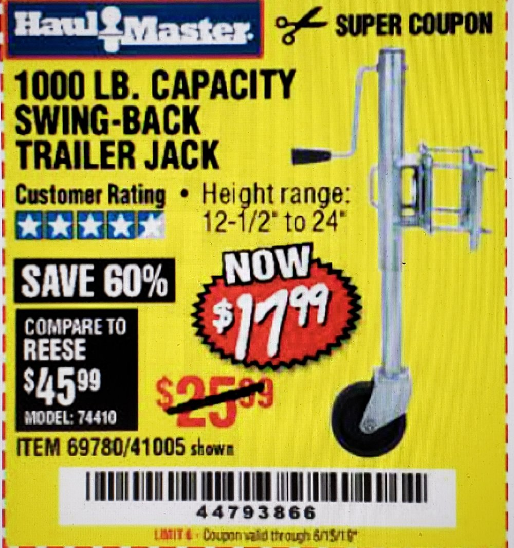 Harbor Freight Coupon, HF Coupons - 1000 Lb. Capacity Swing-back Trailer Jack