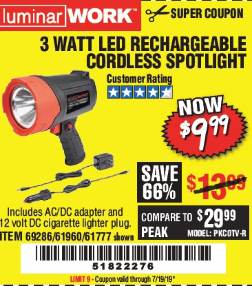 Harbor Freight Coupon, HF Coupons - 3 Watt Led Rechargeable Cordless Spotlight