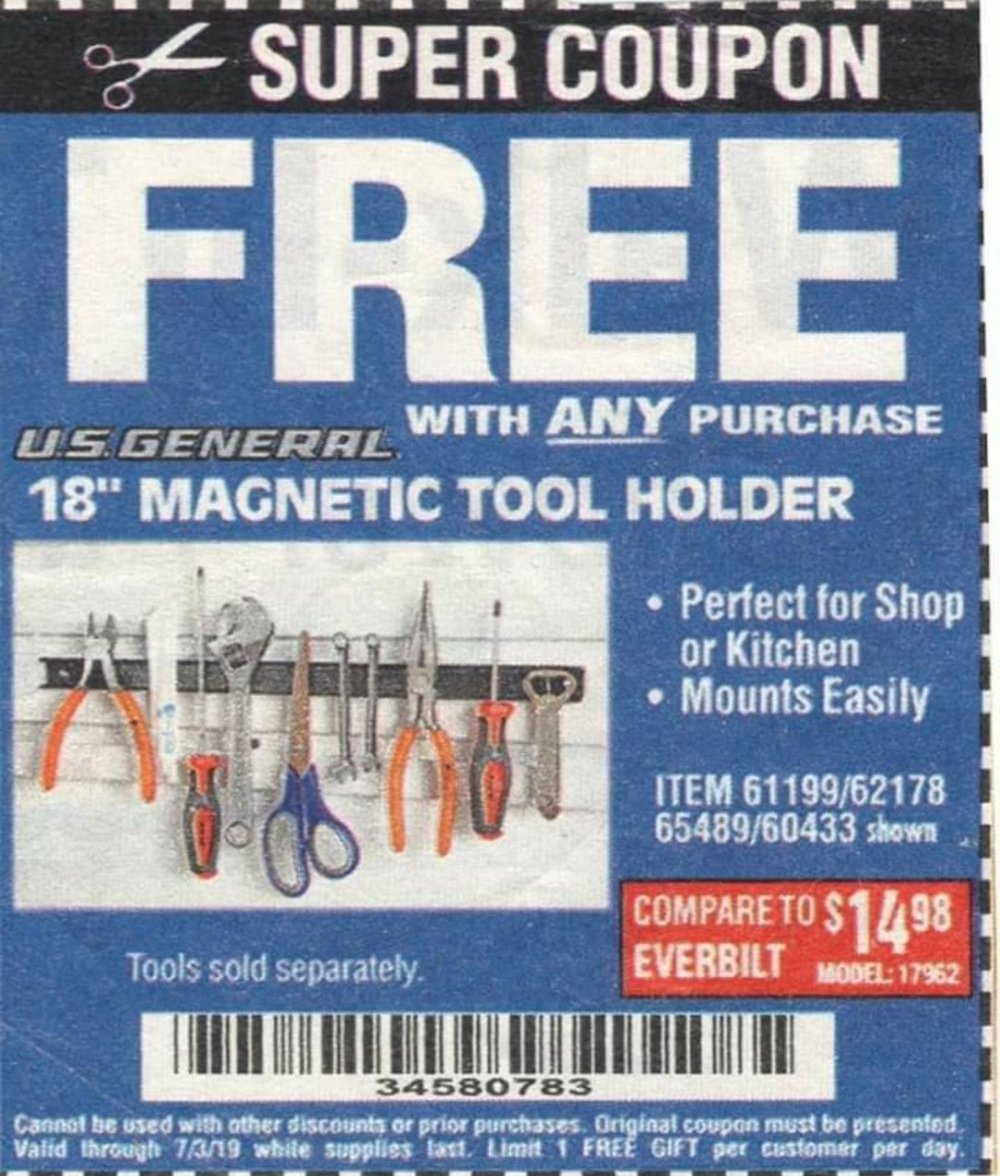 Harbor Freight Coupon, HF Coupons - FREE - 18 In. Magnetic Tool Holder