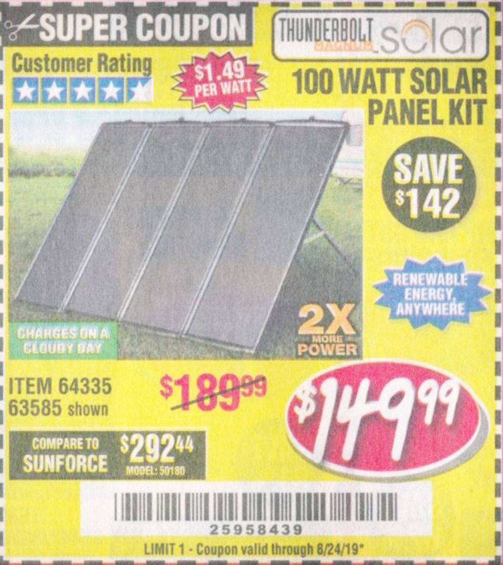 Harbor Freight Coupon, HF Coupons - 100 Watt Solar Panel Kit