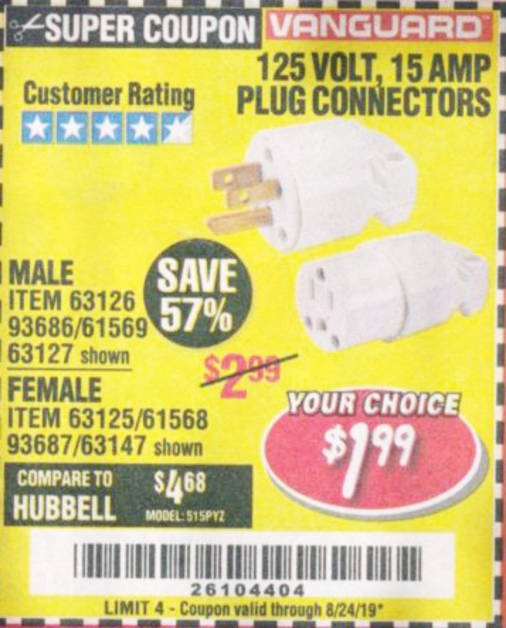 Harbor Freight Coupon, HF Coupons - 125 Volt, 15 Amp Male Or Female Connector