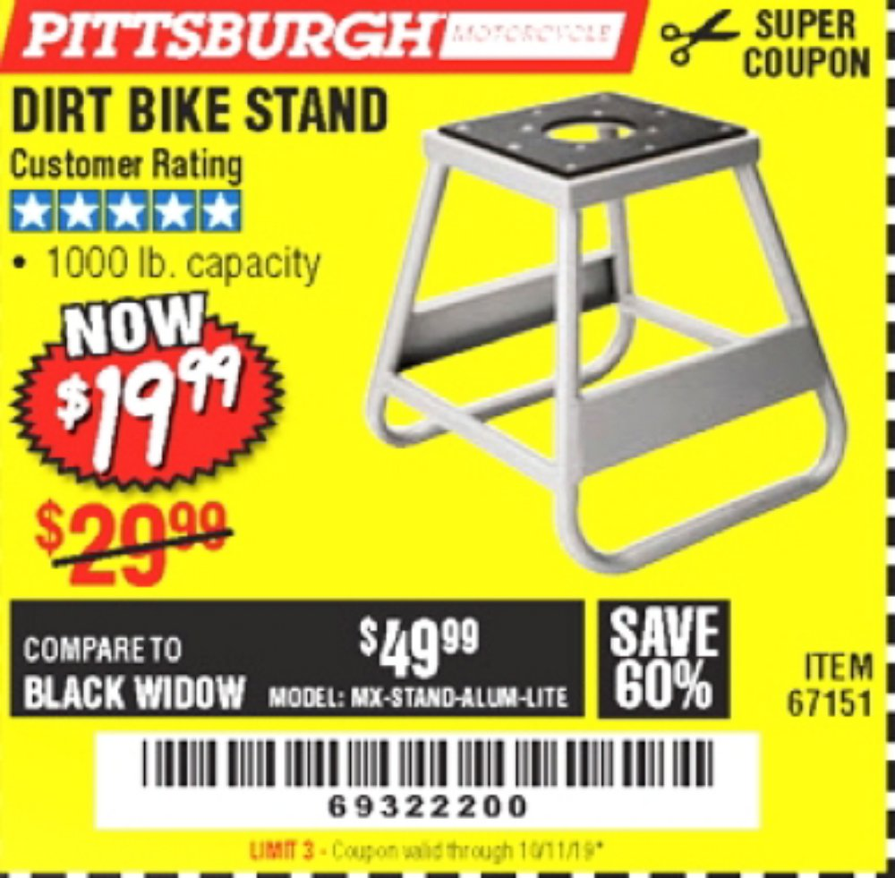 Harbor Freight Coupon, HF Coupons - 1000 Lb. Capacity Dirt Bike Stand