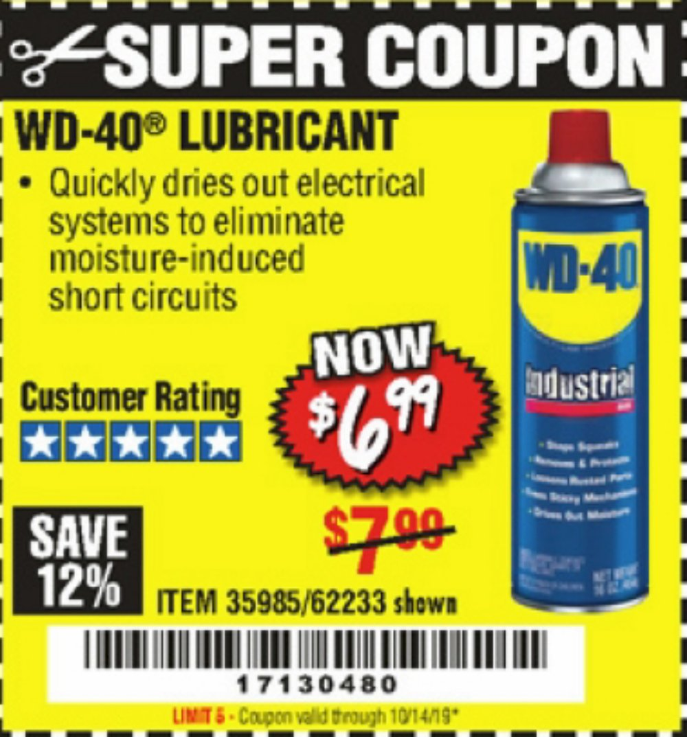 Harbor Freight Coupon, HF Coupons - 16 Oz Wd-40 Lubricants