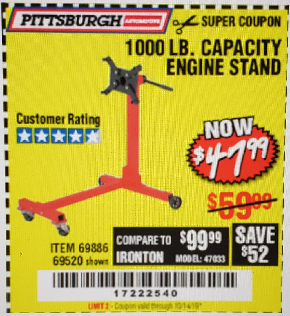 Harbor Freight Coupon, HF Coupons - 1000 Lb. Capacity Engine Stand