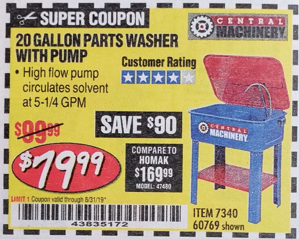 Harbor Freight Coupon, HF Coupons - 20 Gallon Parts Washer With Pump
