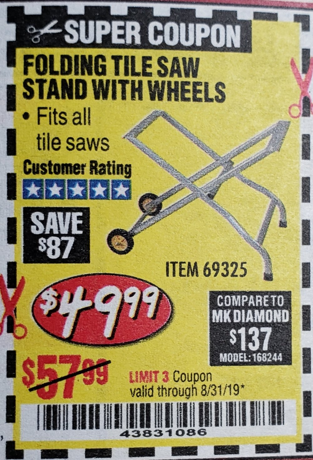 Harbor Freight Coupon, HF Coupons - Folding Tile Saw Stand With Wheels