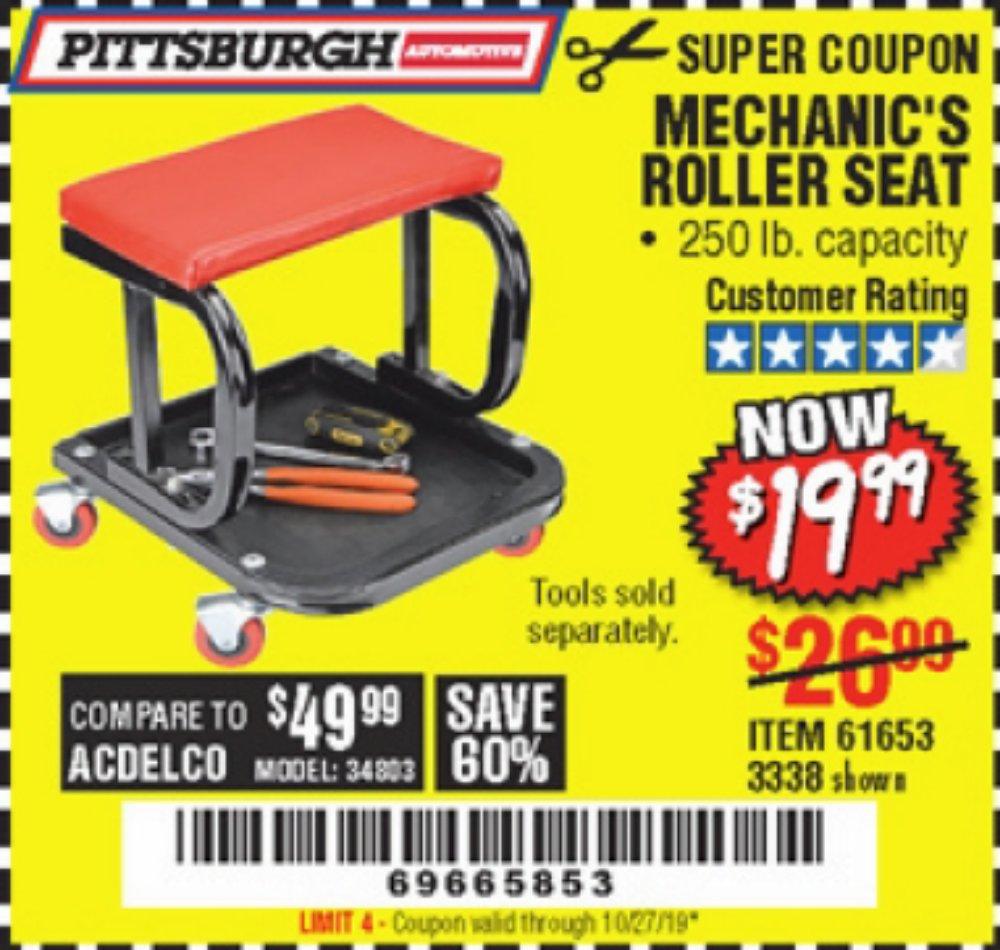 Harbor Freight Coupon, HF Coupons - Mechanic's Roller Seat