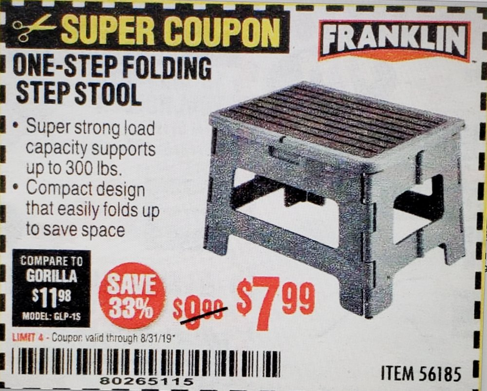 Harbor Freight Coupon, HF Coupons - Franklin One-step Folding Step Stool