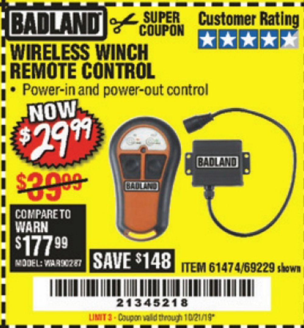 Harbor Freight Coupon, HF Coupons - Wireless Winch Remote Control