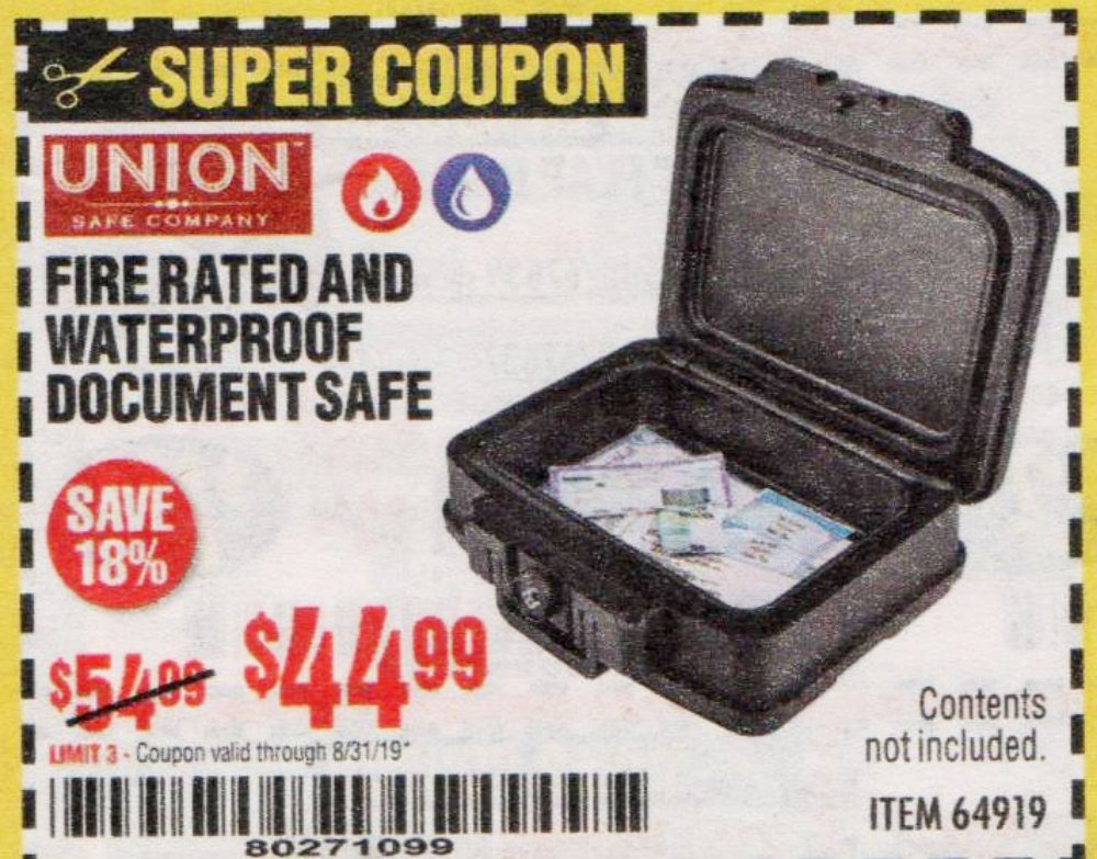 Harbor Freight Coupon, HF Coupons - Fire Rated And Waterproof Document Safe