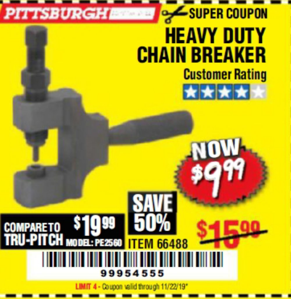 Harbor Freight Coupon, HF Coupons - Heavy Duty Chain Breaker