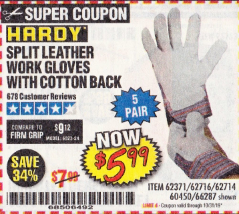 Harbor Freight Coupon, HF Coupons - Split Leather Work Gloves 5 Pair