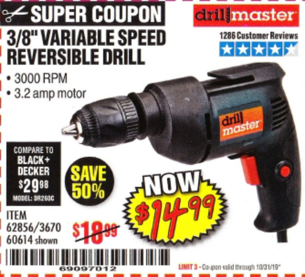 Harbor Freight Coupon, HF Coupons - 3/8 In. Variable Speed Reversible Drill