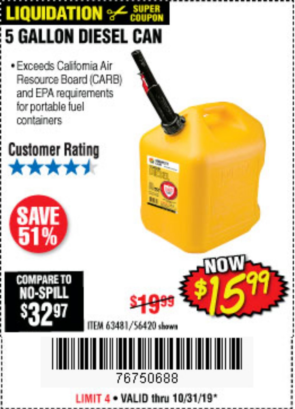 Harbor Freight Coupon, HF Coupons - 5 Gallon Diesel Can