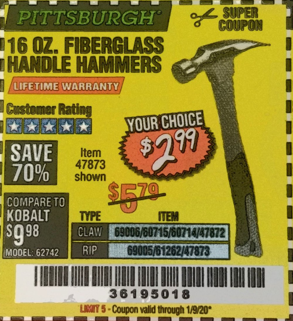 Harbor Freight Coupon, HF Coupons - 16 Oz. Hammers With Fiberglass Handle