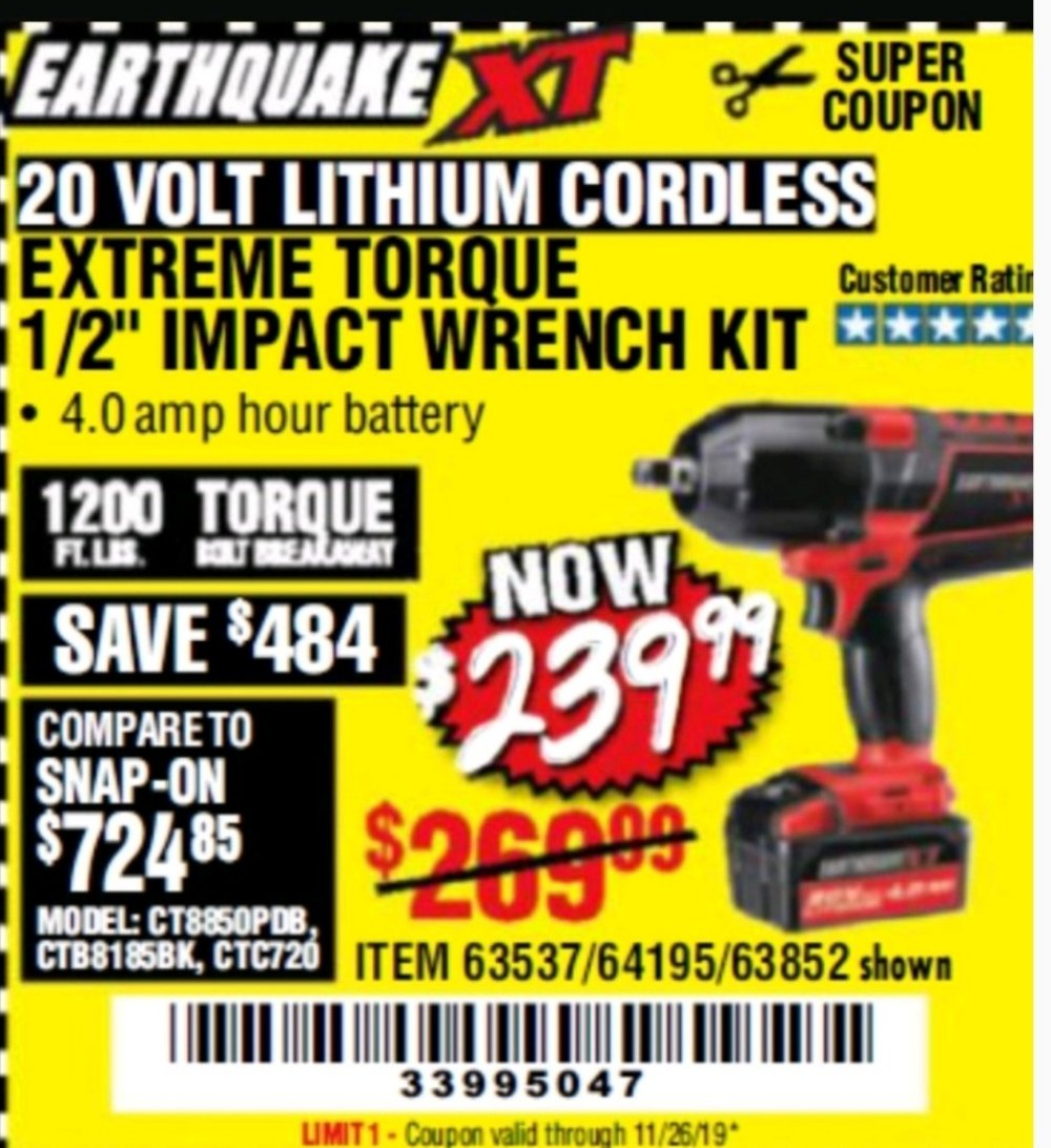 Harbor Freight Coupon, HF Coupons - 20 Volt Lithium Cordless Extreme Torque Impact Wrench Kits