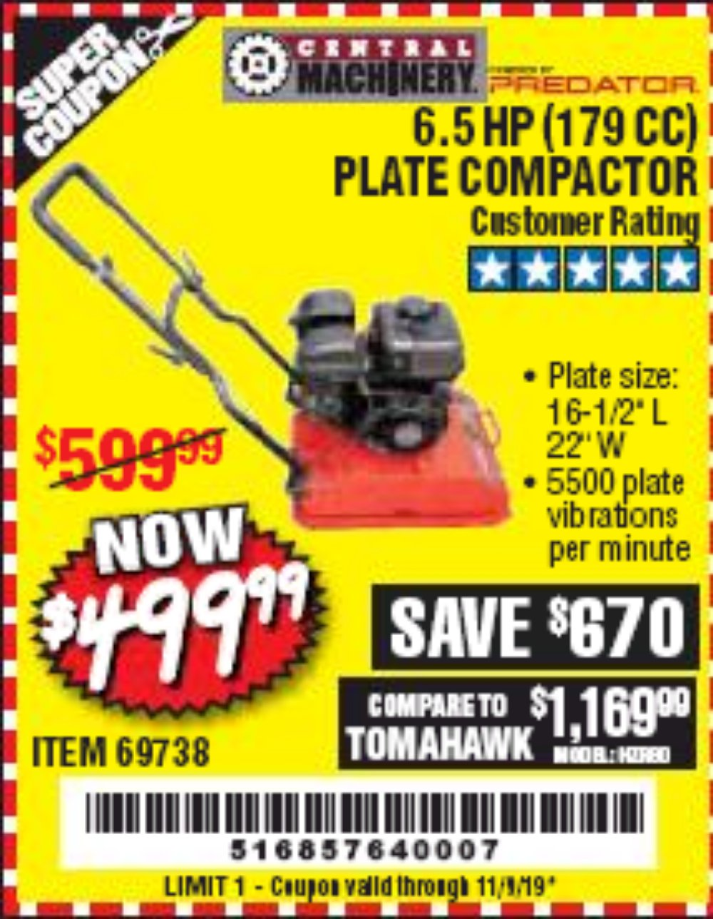 Harbor Freight Coupon, HF Coupons - 6.5 Hp Plate Compactor (179 Cc)