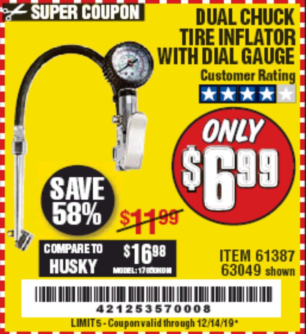 Harbor Freight Coupon, HF Coupons - Dual Chuck Tire Inflator With Dial Gauge