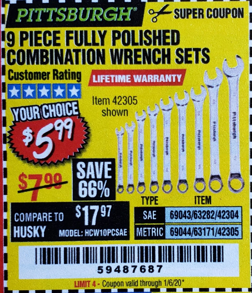 Harbor Freight Coupon, HF Coupons - 9 Piece Fully Polished Combination Wrench Sets