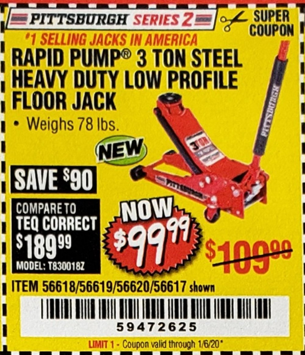 Harbor Freight Coupon, HF Coupons - 3 Ton Low Profile Steel Floor Jack