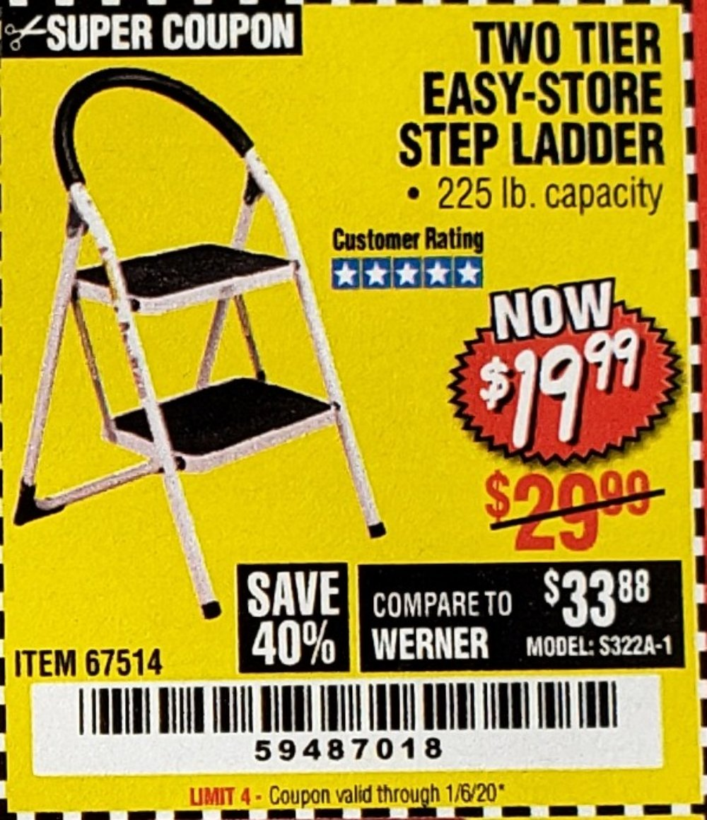 Harbor Freight Coupon, HF Coupons - Two Tier Easy-store Step Ladder