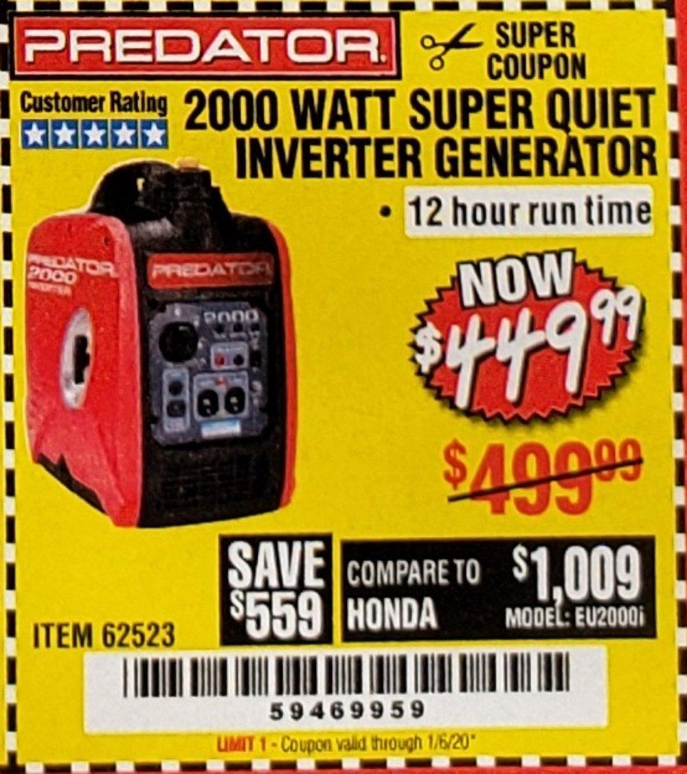 Harbor Freight Coupon, HF Coupons - 2000 Peak / 1600 Running Watts 2.8 Hp (79.7 Cc) Portable Inverter Generator