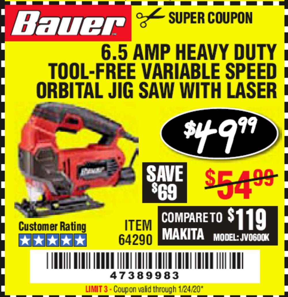 Harbor Freight Coupon, HF Coupons - Bauer 6.5 Amp Heavy Duty Tool-free Variable Speed Orbital Jig Saw